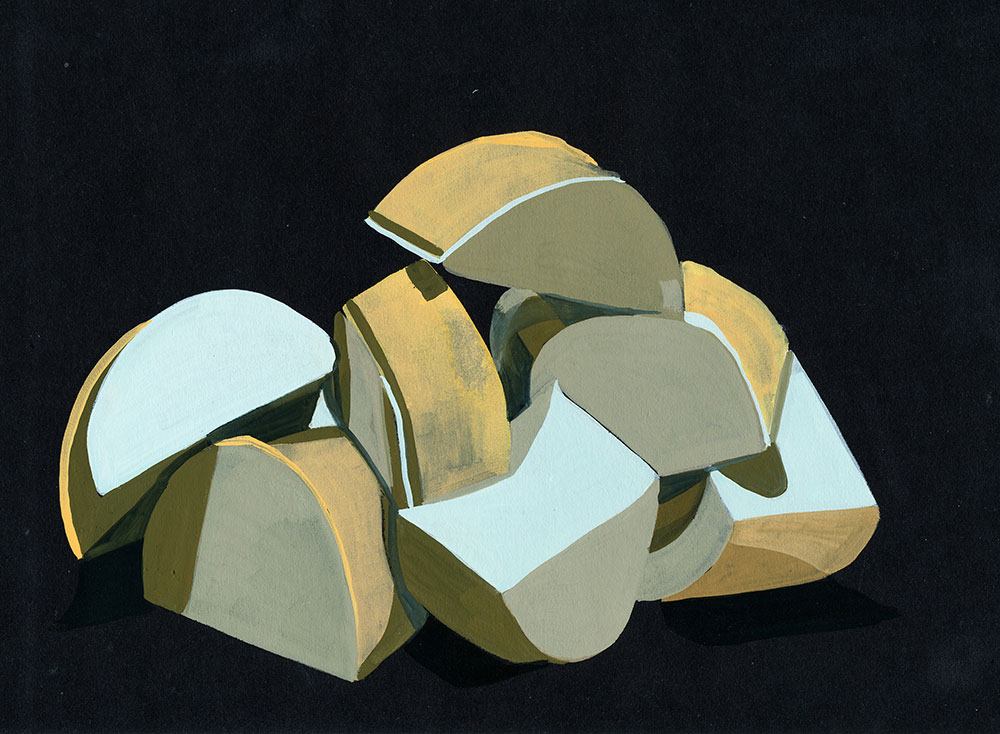 7-and-a-bit Parts, gouache on paper, 2011